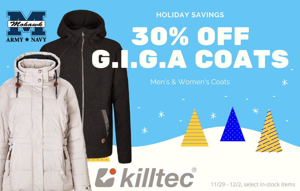 Men's and Womans G.I.G.A. Coats 30% off select styles, sale good 11/19/19 to 12/2/19