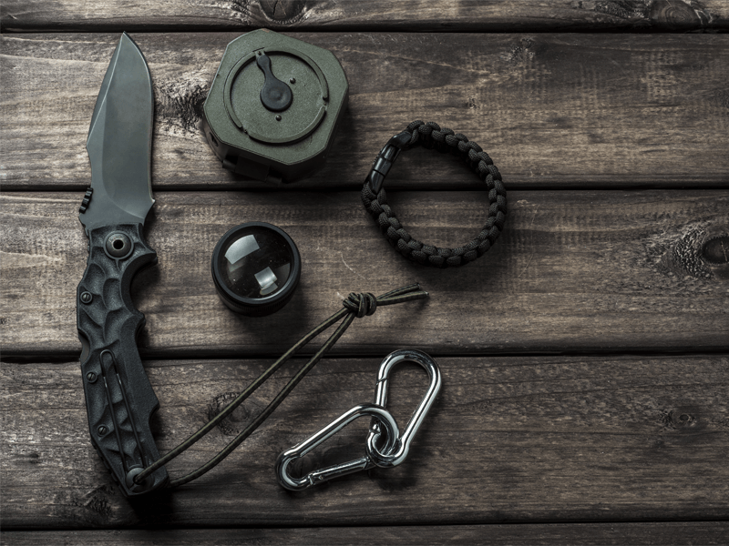 Knife, Compass and MIlitary Gear