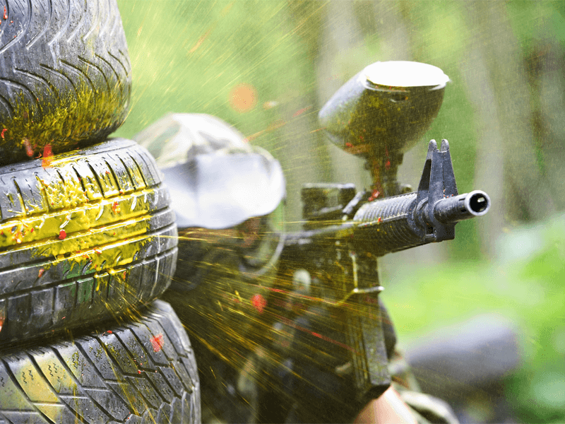 Paintball Player and Paintball Gun