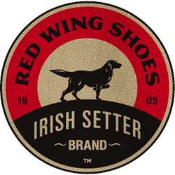 Transparent Red Wing Shoes Irish Setter Brand Logo