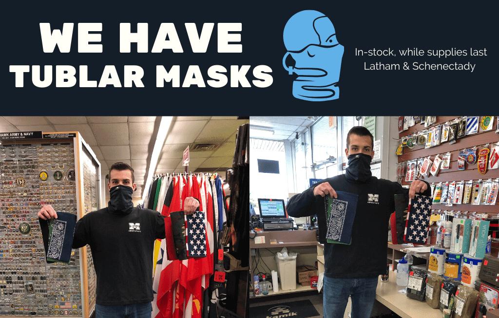 Tublar face masks on sale at mohawk army navy